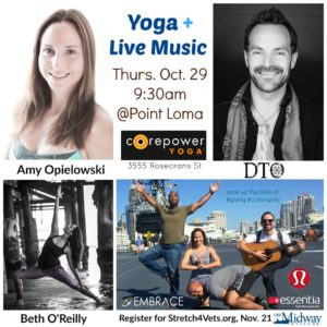 Join Amy Opielowski and Beth O'Reilly as they co-teach to live music by DTO as he performs his yoga album, nameless energy. Thursday, October 29th, 9:30am @ Corepower Yoga Studio - Point Loma.